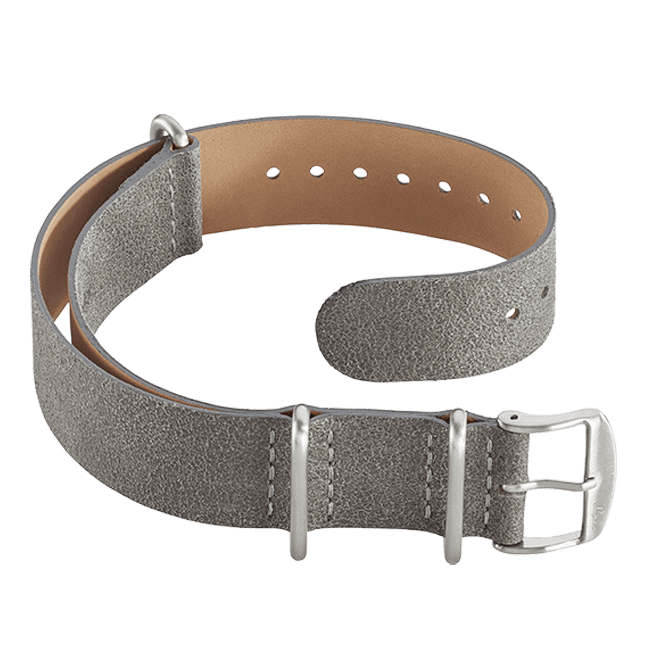 Leather Nato strap grey 20 mm