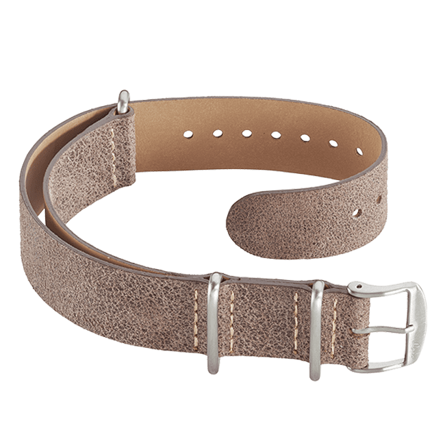 Leather Nato strap brown 20 mm