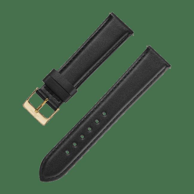Leatherstrap black 18 mm