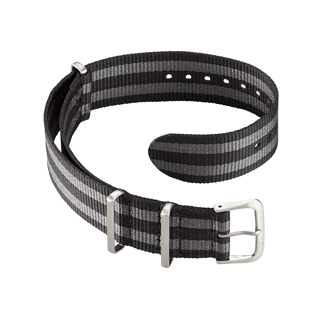 Nato strap black-grey 18 mm